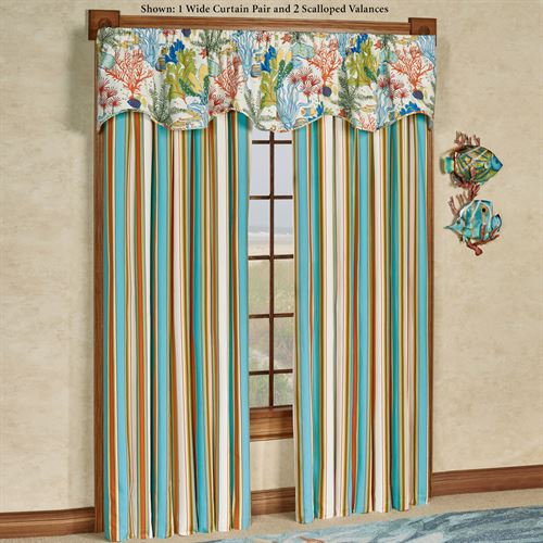 Island Paradise Wide Curtain Pair Glacier 100 x 84