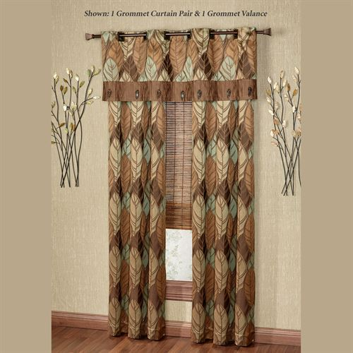 Urban Leaves Grommet Curtain Pair Multi Warm 84 x 84