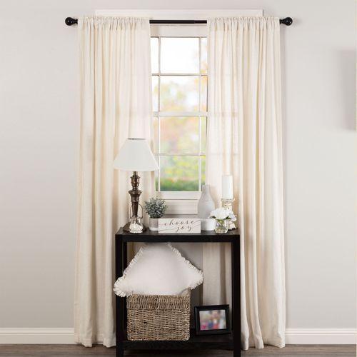 Burlap Tailored Curtain Pair Antique White