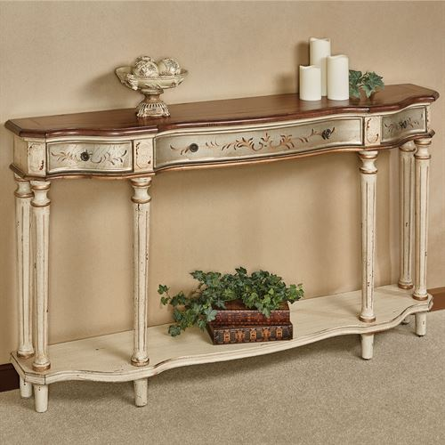 Charmant Hillcrest Wide Console Table Ecru