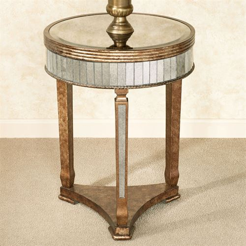 Superieur Bella Mina Mirrored Accent Table Venetian Gold