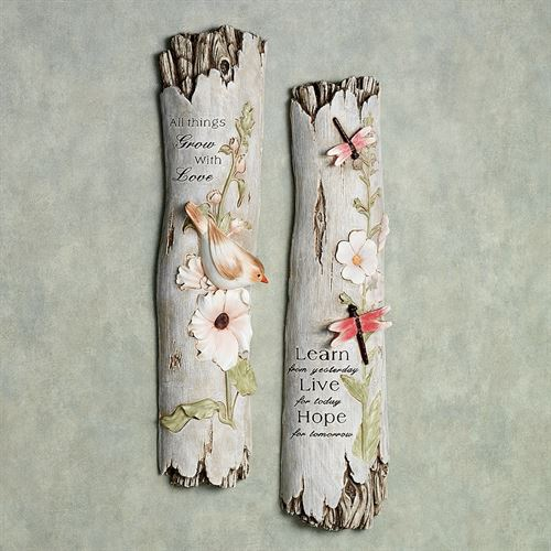 Inspiring Wall Plaque Set Weathered White Set of Two