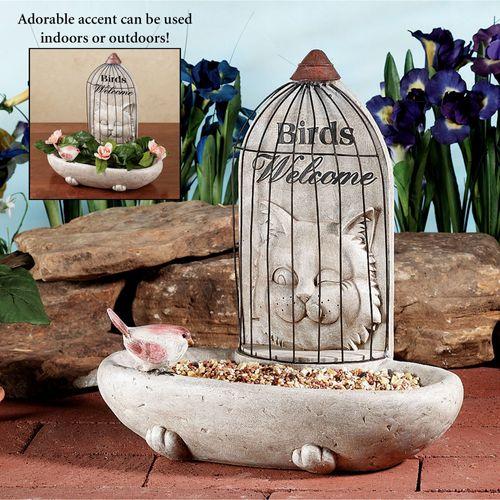 Caged Cat Bird Feeder Weathered Stone