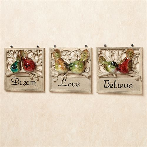 Dream Love Believe Plaque Set Multi Jewel Set of Three