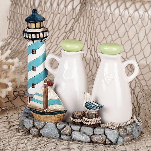 Lighthouse Oil and Vinegar Bottle Set Multi Cool Set of Three