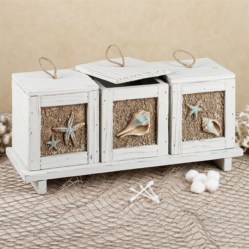 Sandy Beach Accent Box and Tray Set Whitewash Set of Four