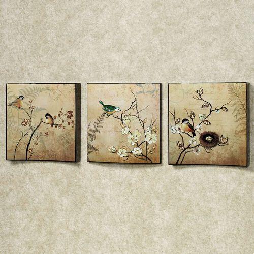 Natures Kiss Birds Wall Art Set Beige Set of Three