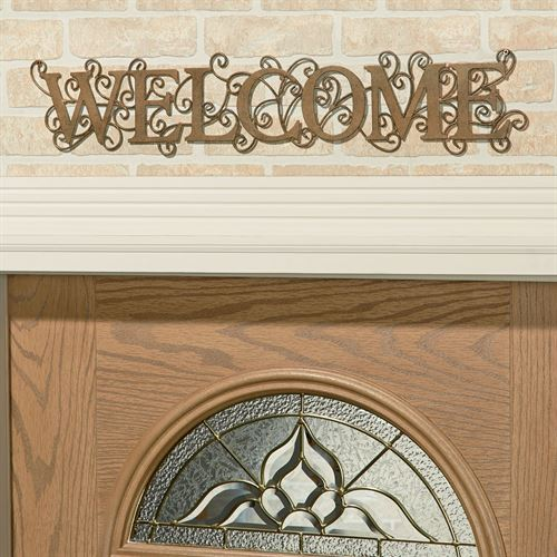 Charleton Welcome Wall Sign Antique Gold
