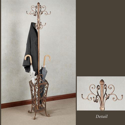 Kensington Coat and Hat Rack Stand Antique Gold