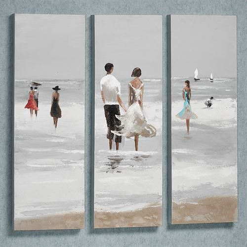 Stroll Along the Beach Canvas Art Set White Set of Three