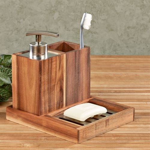 Acacia Wood Trio Bath Accessory Set