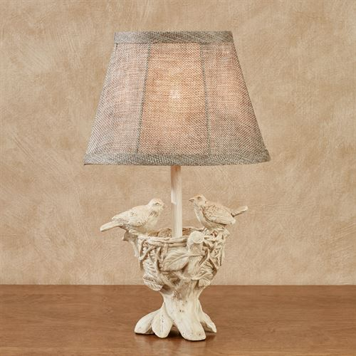 Watching over the young bird accent lamp antique white