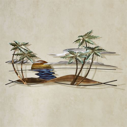 Swaying Palm Scene Wall Art Multi Metallic