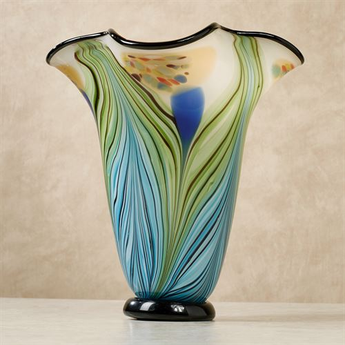 Whitney Peacock Art Glass Table Vase Multi Cool