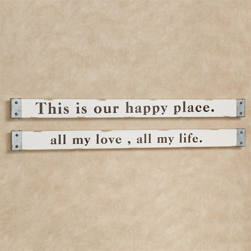 21684cb50e47 All My Love Happy Place Wall Signs Antique Ivory Set of Two