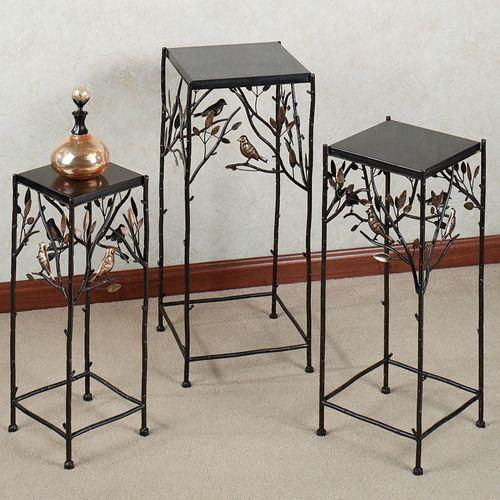 Bird Song Pedestal Table Set Black Set of Three