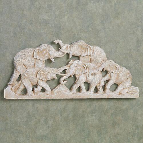 Elephant Family Wall Plaque Whitewash
