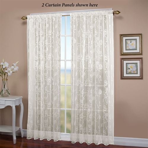 Seslee Embroidered Ivory Sheer Curtain Panel