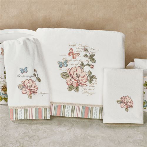 Butterfly Garden Bath Towel Set Ivory Bath Hand Fingertip
