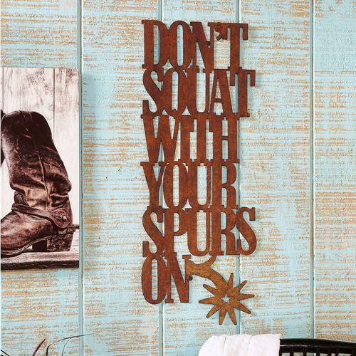 Cowboy Spur Wall Art Sign Rustic Brown