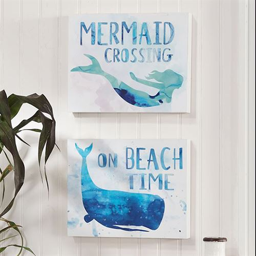Ocean Goddesses Wall Plaques Blue Set of Two