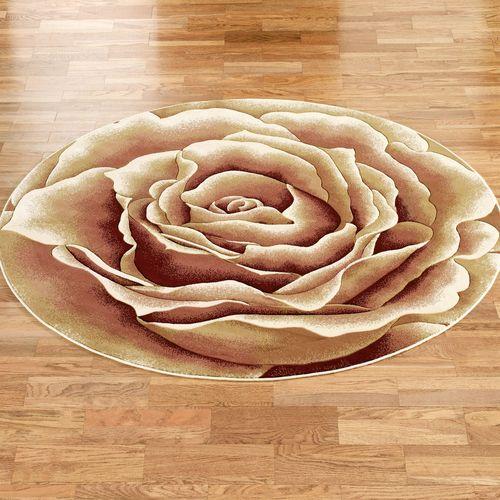 Rose Floral Splendor Round Rug Cream 77 Round