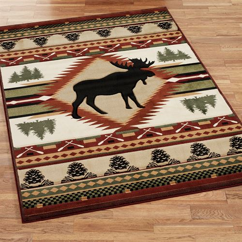 Moose Wilderness Rectangle Rug Terra Cotta
