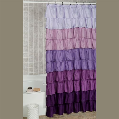 Maribella Ruffled Shower Curtain Lavender 70 x 72