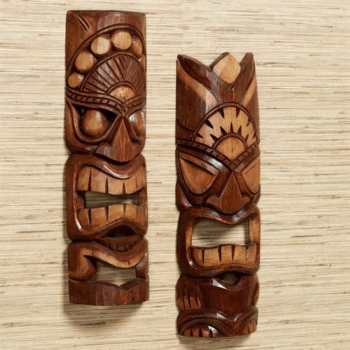 Tiki Warrior Mask Wall Art Set Brown Set of Two