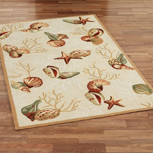 Coral Life Seashell Rectangle Rug