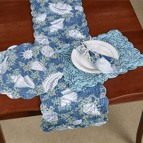 Cape Coral Reversible Table Runner Blue 14 x 51