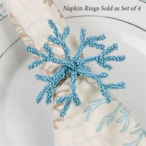 Ocean Coral Napkin Rings Set of Four