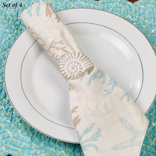 Nautilus Seashell Napkin Rings Whitewash Set of Four