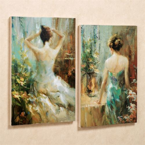 Elegant Ladies Canvas Wall Art Set Multi Warm Set of Two