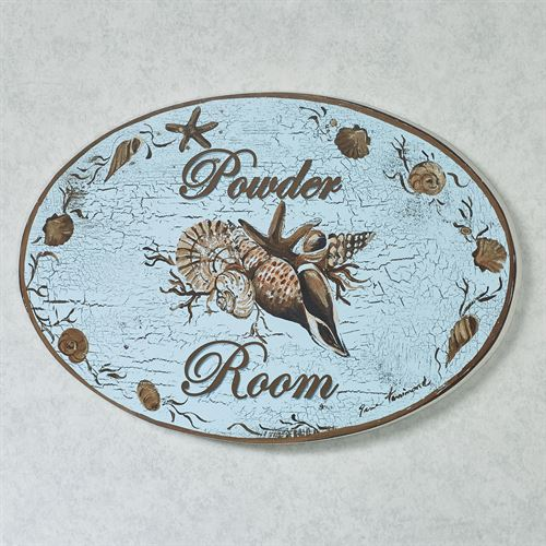 Coastal Powder Room Wall Plaque Blue