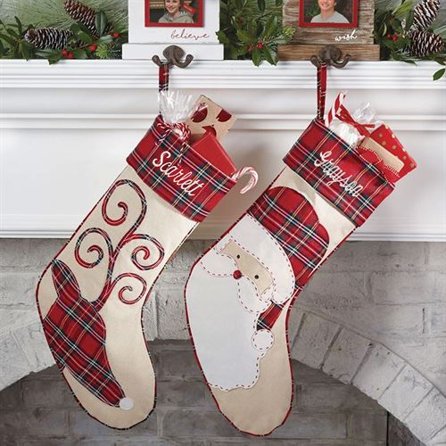 reindeer tartan stocking red - Christmas Plaid