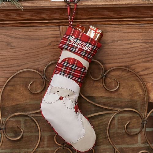 Santa Tartan Stocking Red