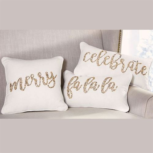 Merry Beaded Decorative Pillow Off White 13 Square