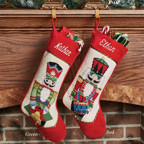 Heirloom Nutcracker Needlepoint Christmas Stocking Red