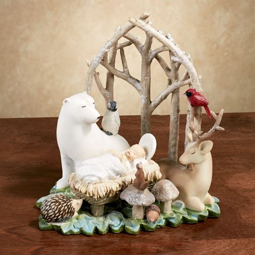 Baby Jesus with Animals Figurine Multi Warm