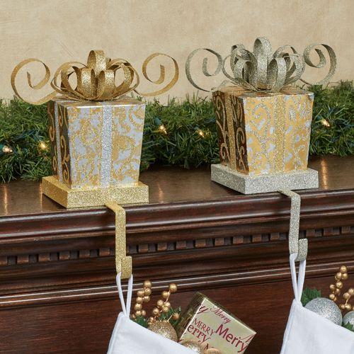 Elegant Gift Stocking Holders Gold Set of Two