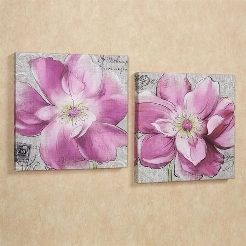 Vibrant Blooms Canvas Set Rose Pink Set of Two