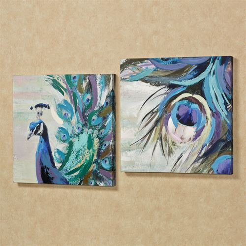 Very best Fanciful Plumes Peacock Canvas Wall Art Set VQ98