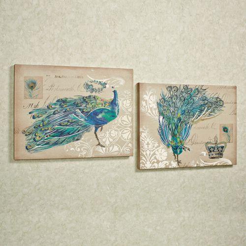 Peacock Fantasy Canvas Set Multi Jewel Set of Two
