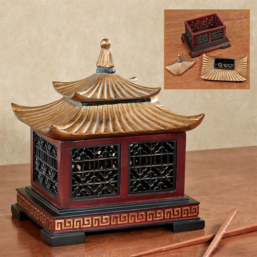 Oriental Pagoda Covered Box Rosewood