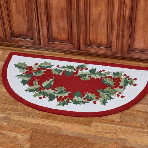 Holly Border Slice Rug Red 60 x 30