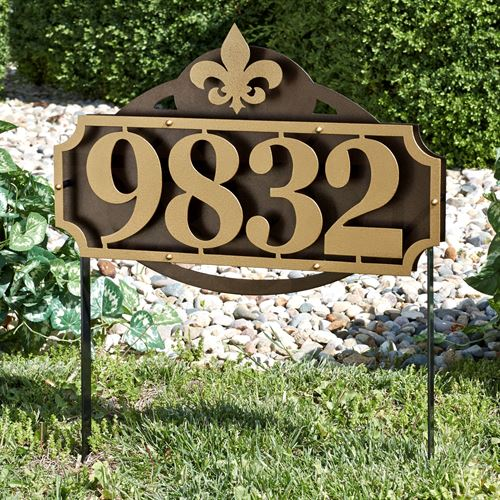 La Casa Fleur de Lis Address Yard Sign Gold/Bronze