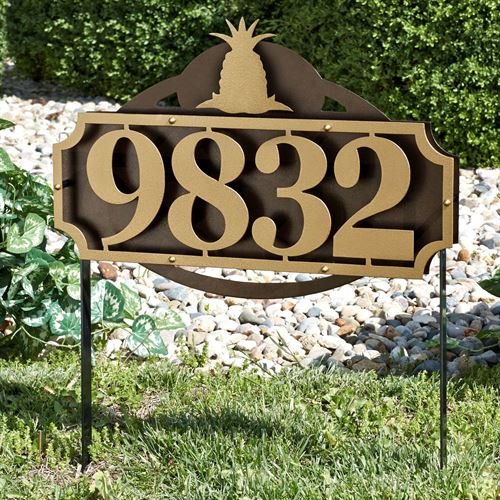 La Casa Pineapple Address Yard Sign Gold/Bronze