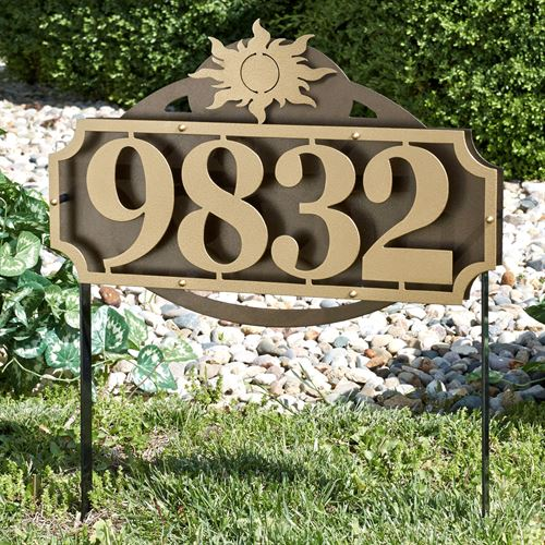 La Casa Sun Address Yard Sign Gold/Bronze