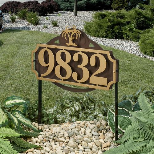 La Casa Palm Tree Address Yard Sign Gold/Bronze Yard